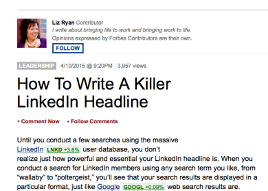Now that you're on Linkedin … personalize your headline